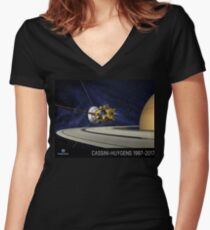 Cassini-Huygens Tribute Women's Fitted V-Neck T-Shirt