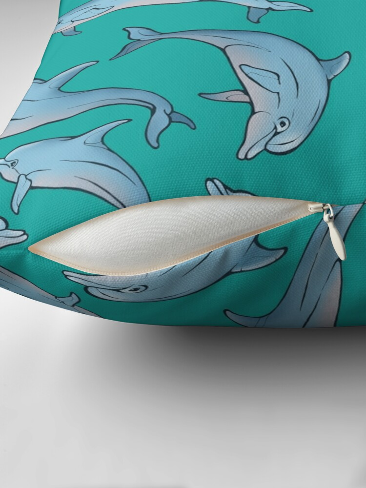 Alternate view of A story about dolphins 3 Throw Pillow