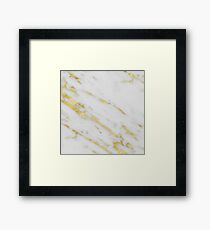 Marble - Shimmery Gold Marble on White Pattern Framed Print