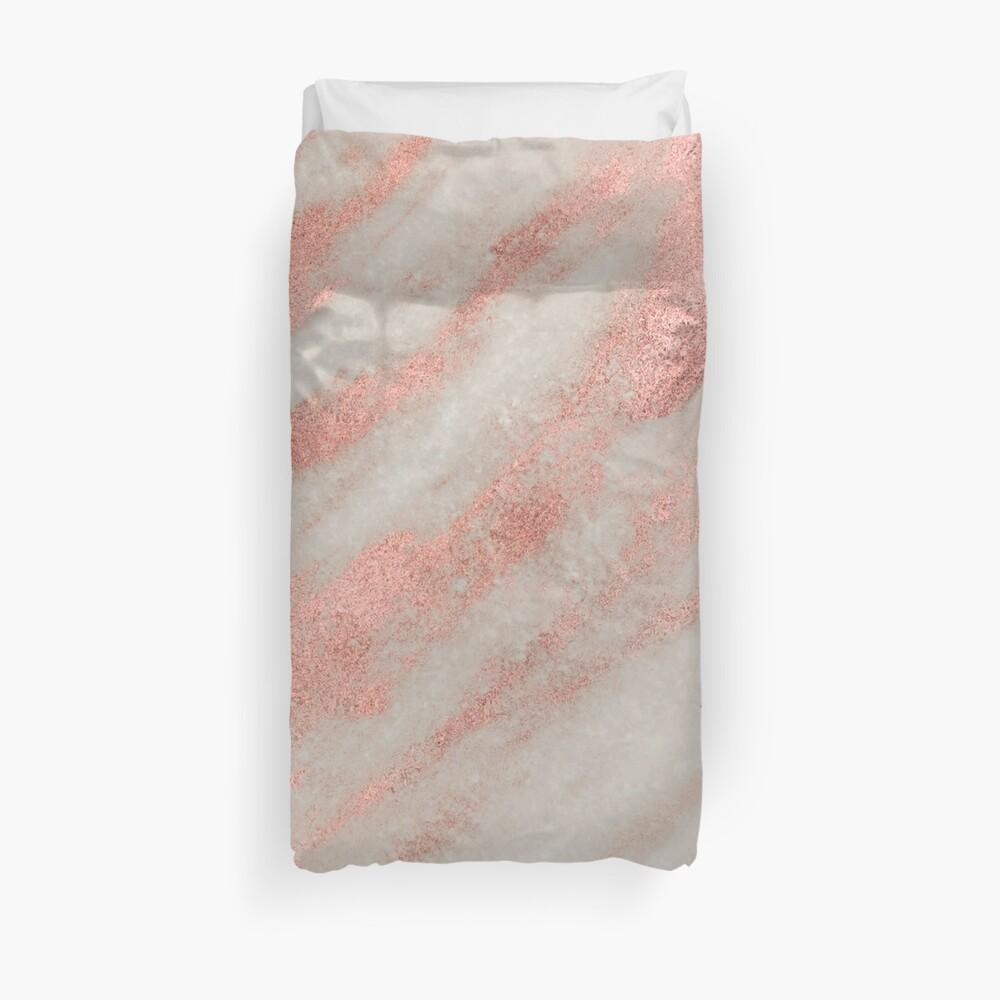 Marmor - Rose Gold Marmor Folie auf Weiß Bettbezug