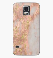 Marble - Rose Gold Marble with Yellow Gold Glitter Case/Skin for Samsung Galaxy