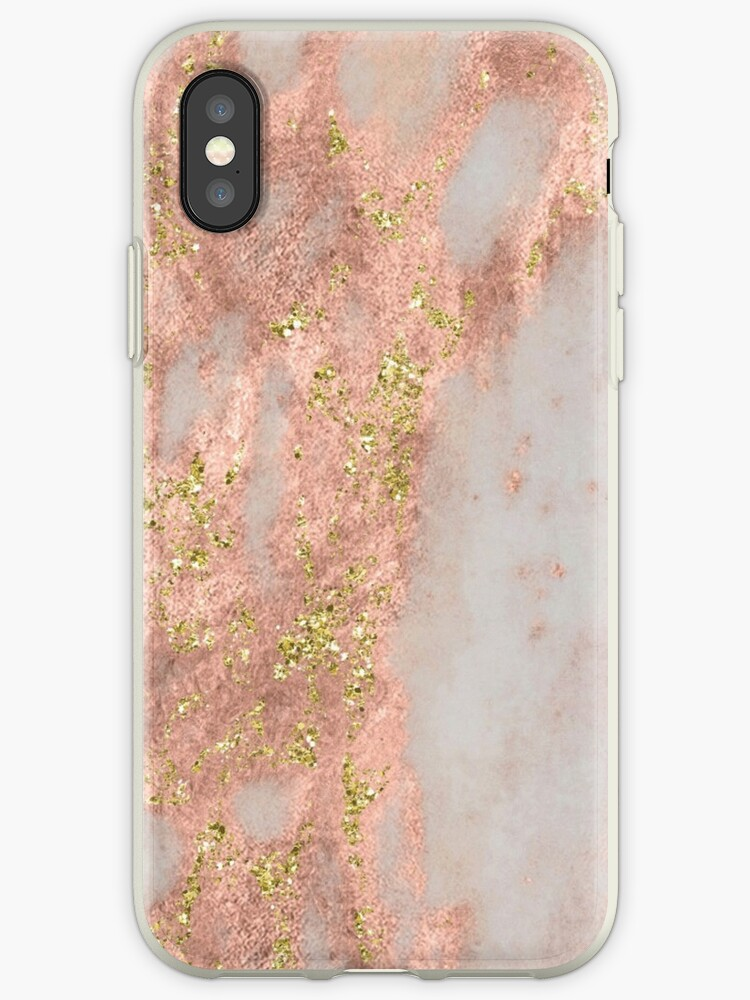 Marble - Rose Gold Marble with Yellow Gold Glitter by naturemagick