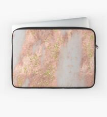 Marble - Rose Gold Marble with Yellow Gold Glitter Laptop Sleeve