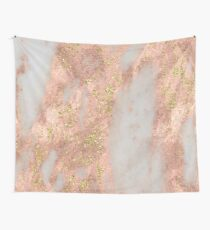 Marmor - Rose Gold Marmor mit Gelbgold Glitter Wandbehang