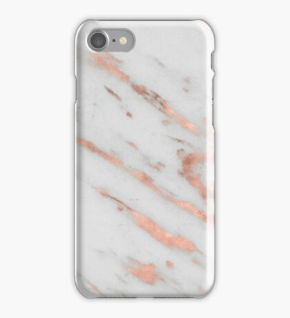 Marble - Rose Gold Marble with White Gold Foil Pattern iPhone Case/Skin