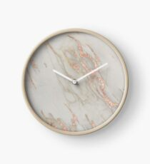 Marble - Rose Gold Marble Metallic Blush Pink Clock