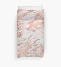 Marble - Pink Rose Gold Marble White Metallic Duvet Cover