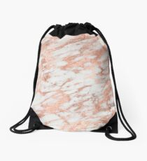 Marble - Pink Rose Gold Marble White Metallic Drawstring Bag