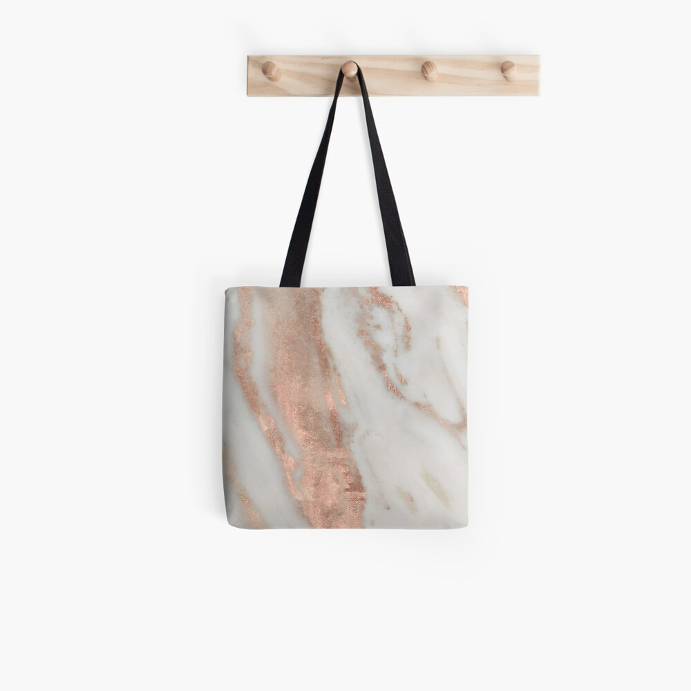 Marble - Rose Gold Shimmery Marble Tote Bag
