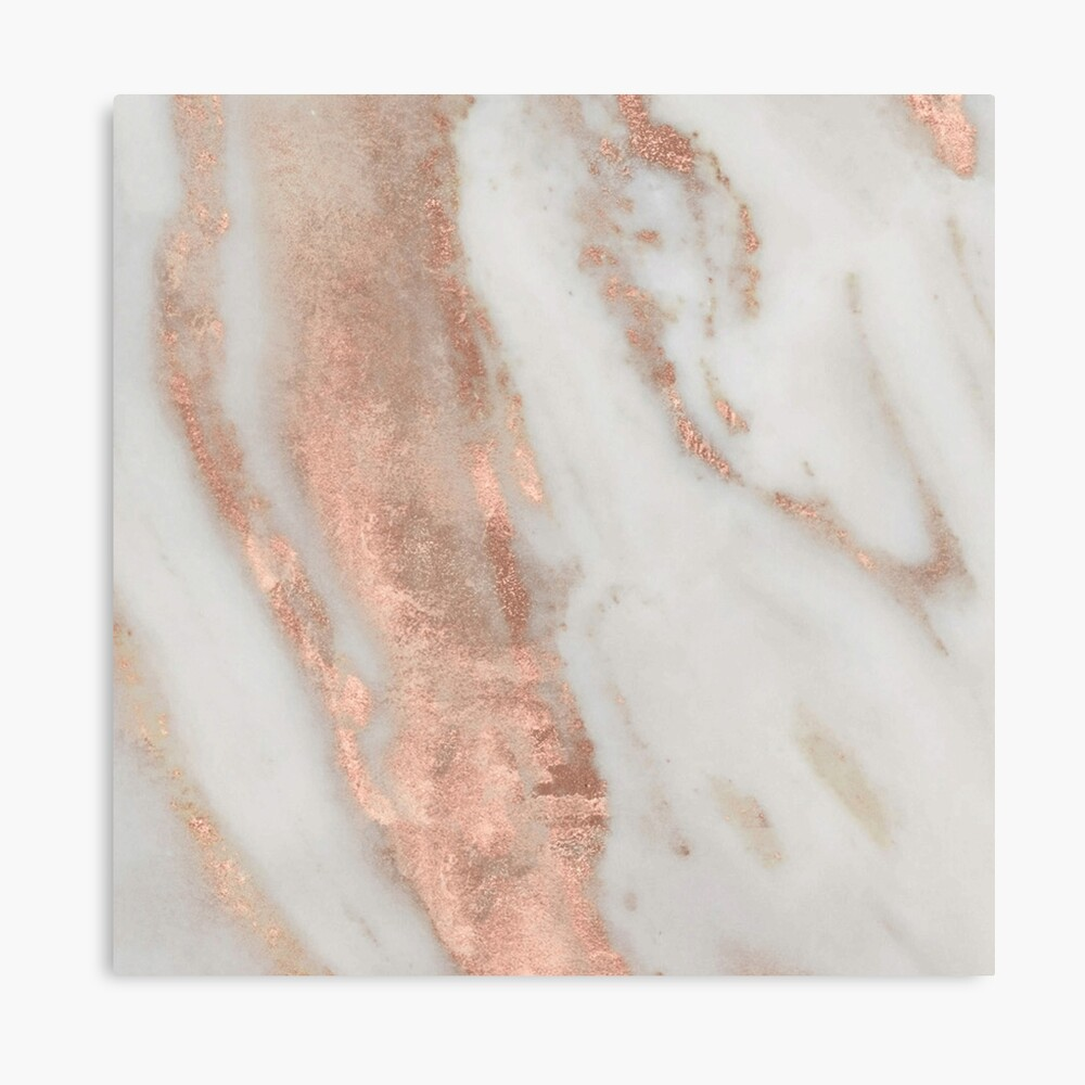 Marble - Rose Gold Shimmery Marble Canvas Print