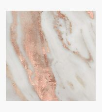 Marble - Rose Gold Shimmery Marble Photographic Print