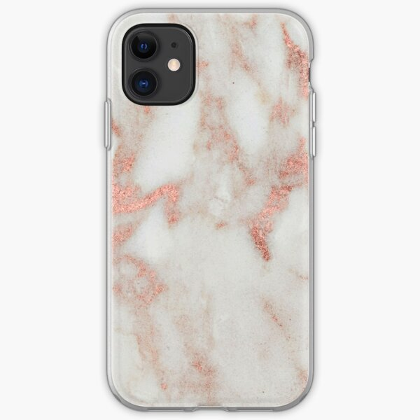 Marble - Metallic Blush Pink and White Marble iPhone Soft Case