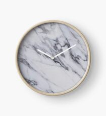 Marble - Black and White Gray Swirled Marble Design Clock
