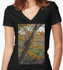 Cuyahoga Camouflage Women's Fitted V-Neck T-Shirt