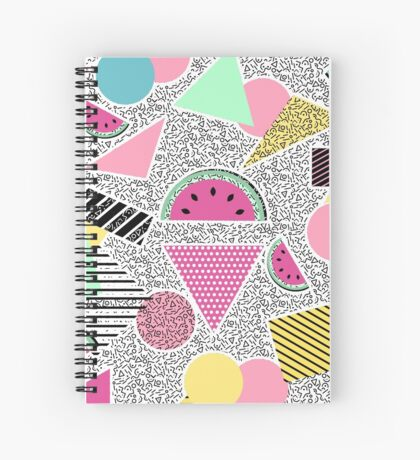 Modern geometric pattern Memphis patterns inspired Spiral Notebook