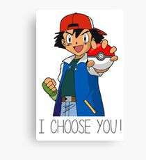 I Choose You! Ash Ketchum Valentines Pokemon Sun Moon Go Canvas Print