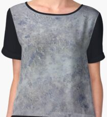 Speckled Blue and Gray Marble Chiffon Top