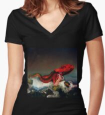 Sanfter Riese - Octopus Tailliertes T-Shirt mit V-Ausschnitt