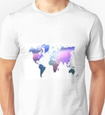 Rainbow World Map. Blue Purple T-Shirt