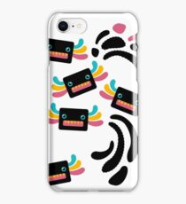 Cute Black and Rainbow Axolotls and Whirls iPhone Case/Skin