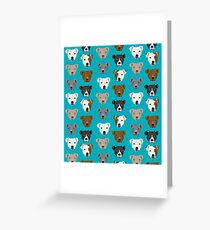 Pitbull faces dog art dog pattern pitbulls cute gifts for rescue dog owners by PetFriendly Greeting Card