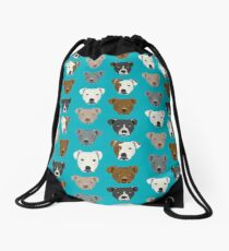 Pitbull faces dog art dog pattern pitbulls cute gifts for rescue dog owners by PetFriendly Drawstring Bag
