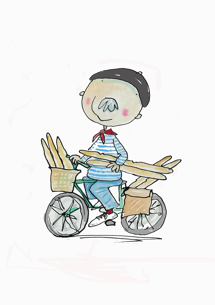 Quot French Man On A Bicycle With Baguettes Quot By Andylanhamart