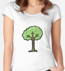 cartoon tree Women's Fitted Scoop T-Shirt