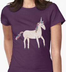 Unicorn Pattern on Pastel Purple Womens Fitted T-Shirt