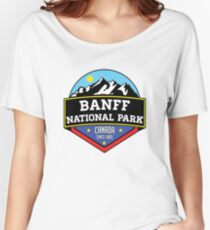BANFF NATIONAL PARK ALBERTA CANADA Skiing Ski Mountain Mountains Snowboard Boating Hiking Women's Relaxed Fit T-Shirt