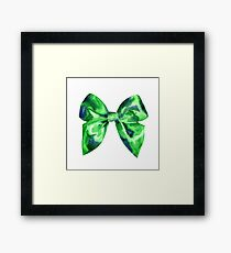 Watercolor green bright bow  Framed Print