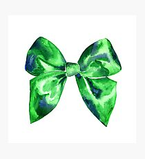 Watercolor green bright bow  Photographic Print