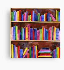 watercolor colored books pattern Canvas Print