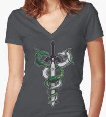 Dragon Sword Women's Fitted V-Neck T-Shirt