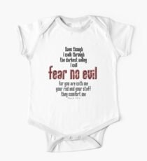 EVIL, FEAR NO EVIL, Psalm 23:4, Christian, Christ, Old Testament One Piece - Short Sleeve