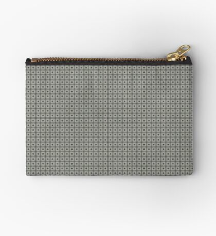 Dots  & Squares in Gray Zipper Pouch