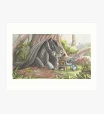 Toothless and Stitch Build a Froghouse Art Print