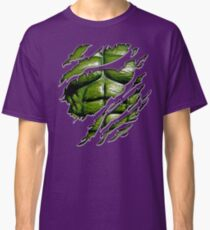 Green muscle chest in purple ripped torn tee Classic T-Shirt
