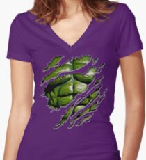 Green muscle chest in purple ripped torn tee Women's Fitted V-Neck T-Shirt