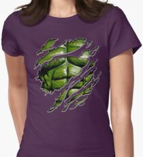 Green muscle chest in purple ripped torn tee Womens Fitted T-Shirt