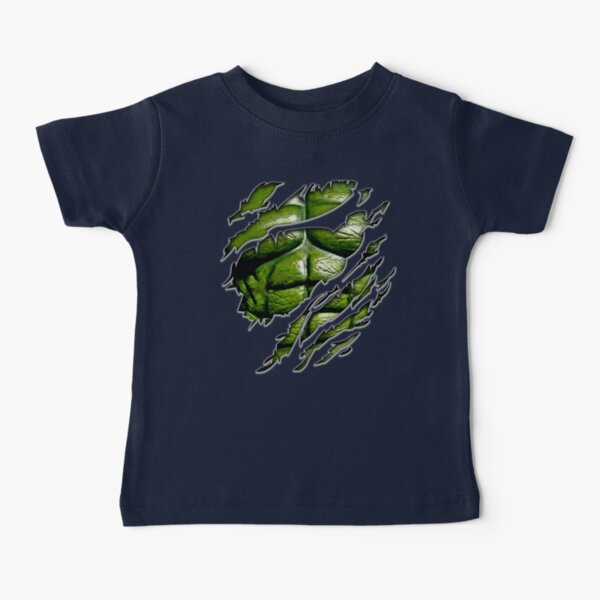 Green muscle chest in purple ripped torn tee Baby T-Shirt