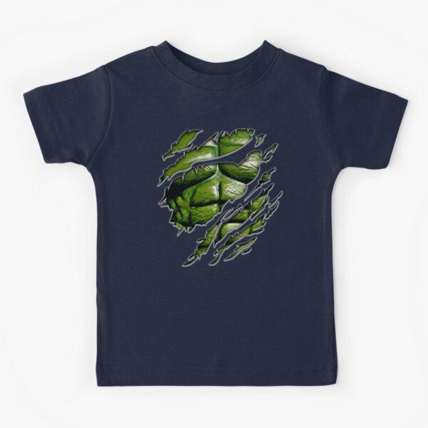 Poitrine de muscle vert en violet tee déchiré déchiré T-shirt enfant