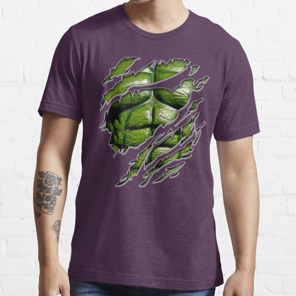 Green muscle chest in purple ripped torn tee Essential T-Shirt