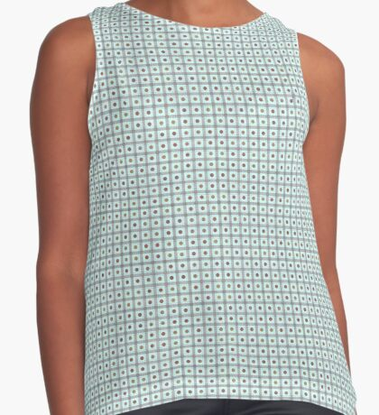 Squares & Dots in Light Blue by Julie Everhart Sleeveless Top