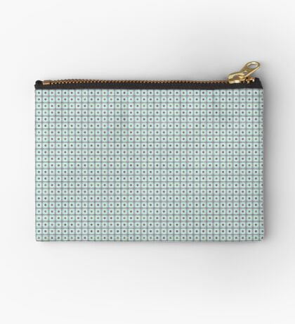 Squares & Dots in Light Blue by Julie Everhart Zipper Pouch