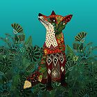 floral fox by Sharon Turner