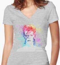 Bowie painting Women's Fitted V-Neck T-Shirt