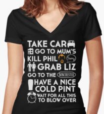 SHAUN OF THE DEAD THE PLAN TO TO LIST Women's Fitted V-Neck T-Shirt