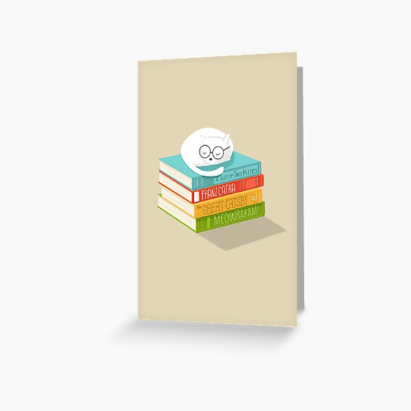 The Cat Loves Books Greeting Card