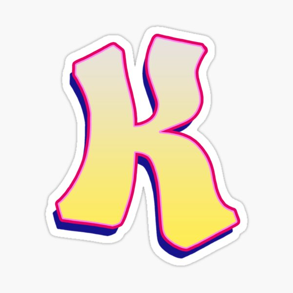 Letter K - Yellow/Pink Sticker